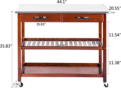 3-Tier Wood Rolling Kitchen Island Utility Kitchen Serving Cart w/Stainless Steel Countertop, Spacious Drawers Lockable Wheels