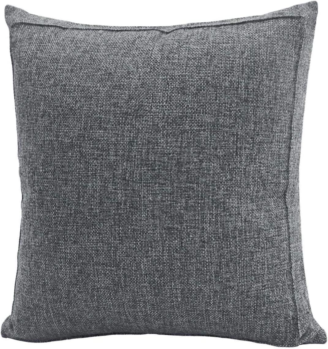 Jepeak Burlap Linen Throw Pillow Cover Cushion Case, Farmhouse Modern Decorative Solid Square Thickened Pillow Case for Sofa Couch (20 x 20 inches, Charcoal Grey)