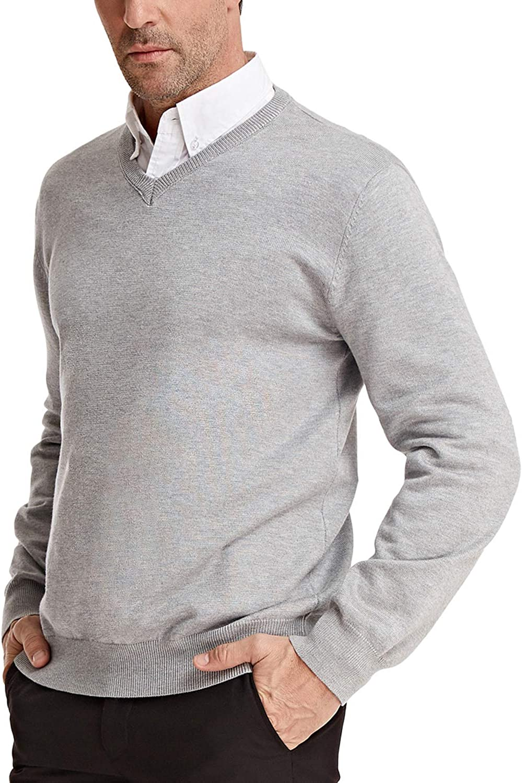 PAUL JONES Men's Knitting Sweater Stylish Long Sleeve V-Neck Pullover