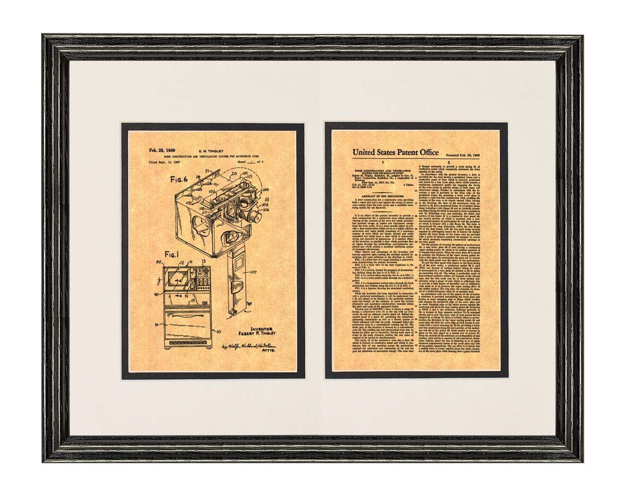 """Microwave Oven Patent Art Print in a Black Wood Frame with a Double Mat (20"""" x 24"""") M15869"""