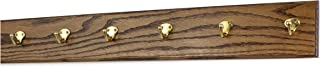 """product image for Oak Wall Mounted Coat Rack with Solid Brass Singular Style Hooks 4.5"""" Ultra Wide (30.5 x 4.5"""" with 6 Hooks, Walnut)"""