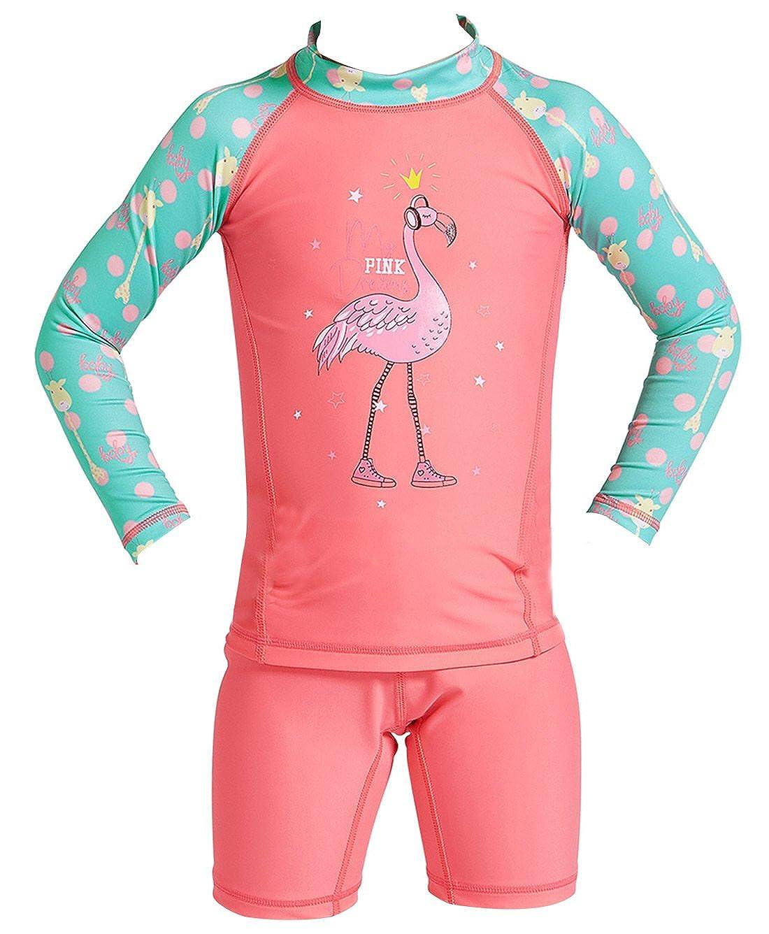 DIVE& SAIL Girls Long Sleeve Rashguard with Shorts Set 2-Piece Swimwear 4-9Y