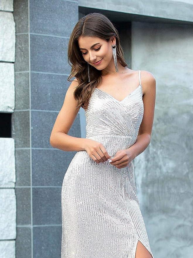 Ever-Pretty Fendue Vestido de Fiesta Lentejuelas Mujer Largo Escote en V Correas de Espagueti Chic 00609