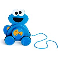 Bright Starts Sesame Street Snack & Stroll Cookie Monster Wooden Pull Toy, 12-36 Mths+
