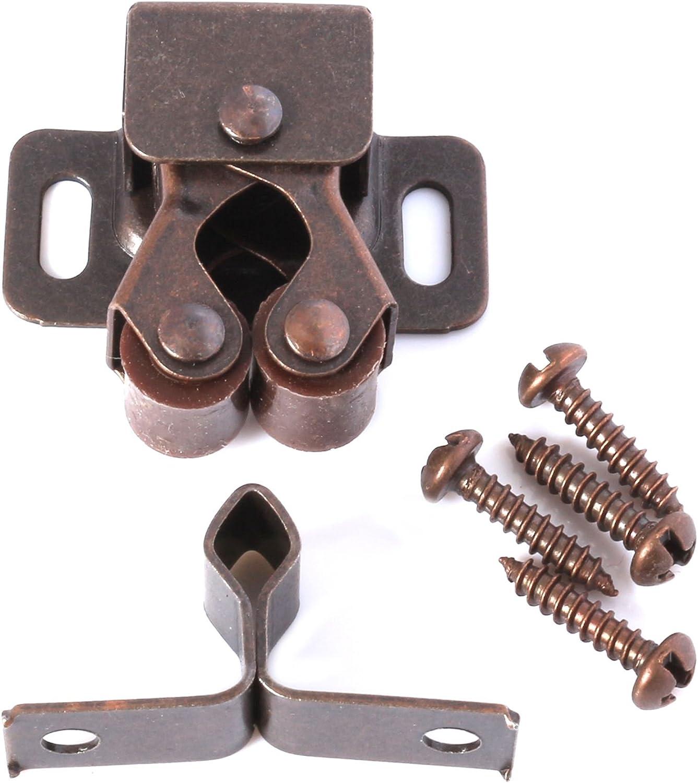 Caravan Door//Cupboard Metal Latch 10x Antique Brass Double Roller Catch Sets Screws