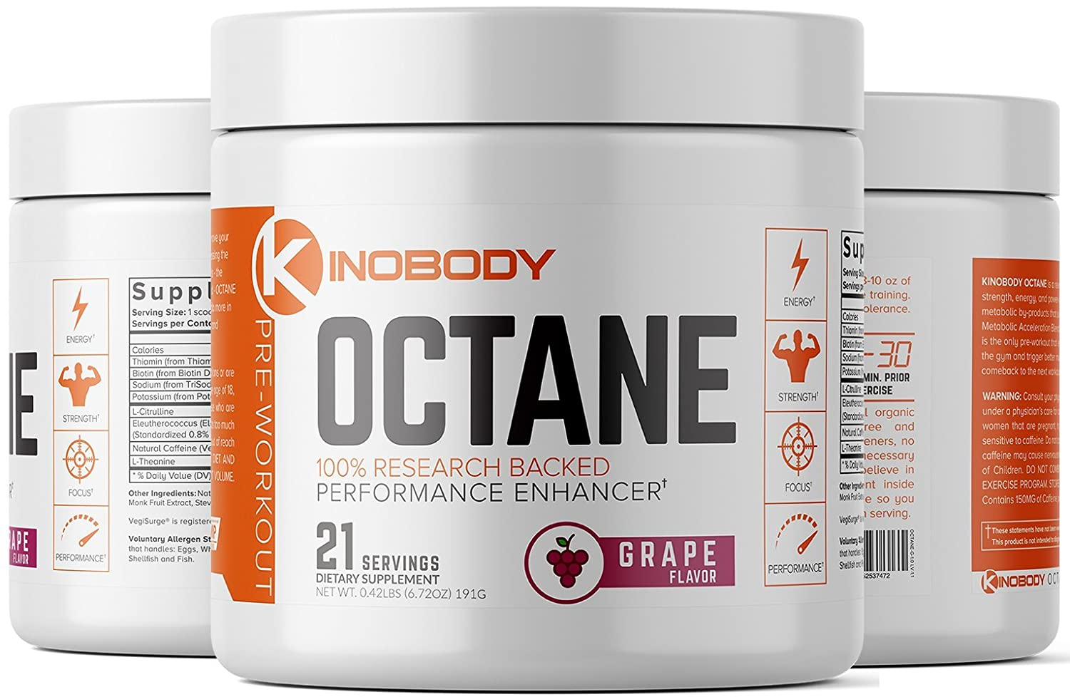 Kinobody: Octane - Pre-Workout Supplement - 21 Servings - 100% Research  Backed Performance