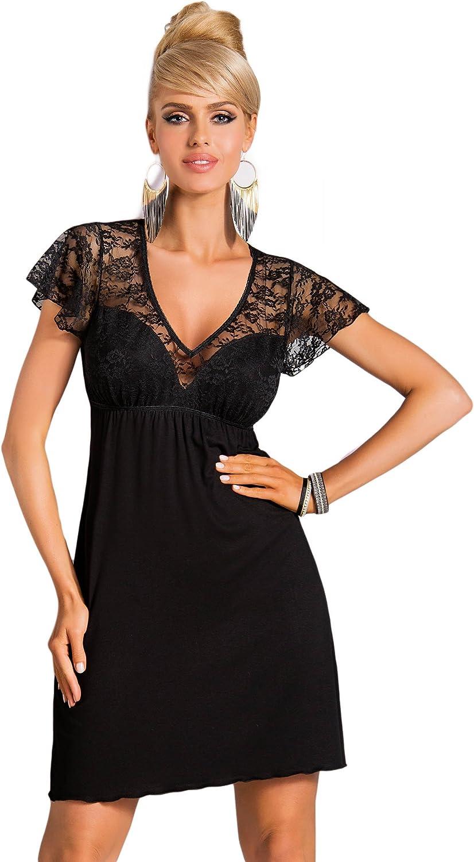 Donna - Camisón elegante y lujoso, viscoso, négligée, con cordón para entallar, en gran caja de regalo
