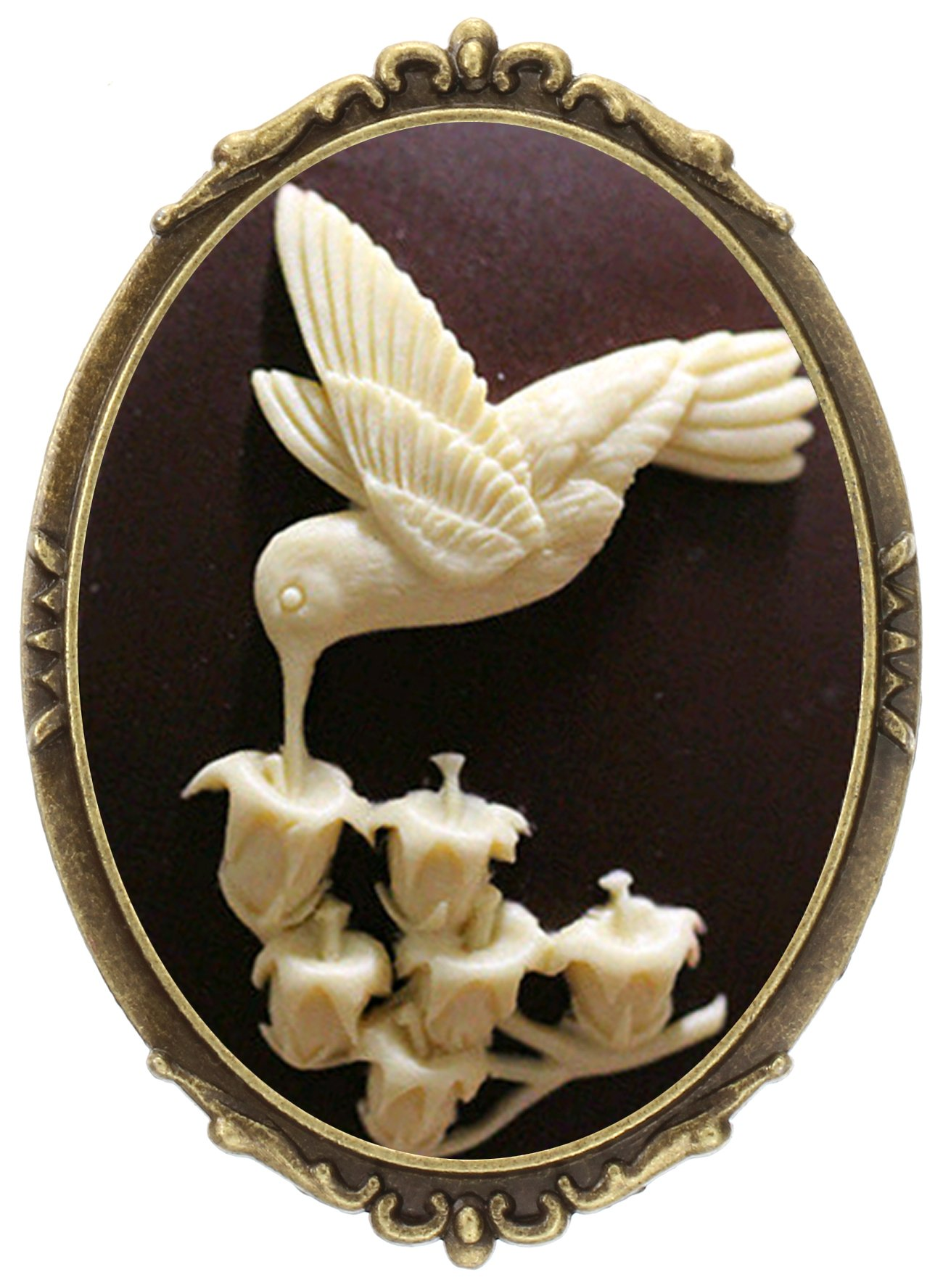 Hummingbird Brooch Pin Shield Decor Antique Brass Cameo Fashion Jewelry Pouch for Gift