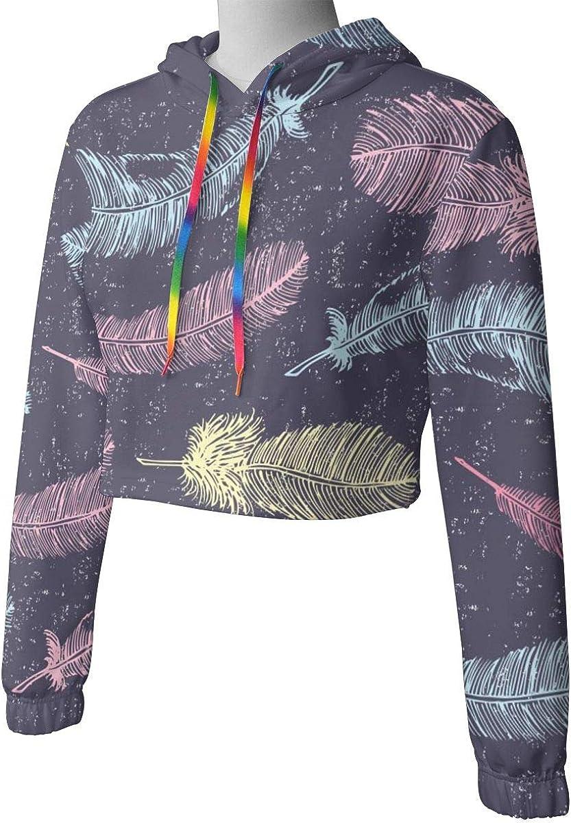 Seamless Ethnic Womens Sports Long Sleeve Crop Hoodie Sweatshirt Top Pullover Hooded Sweatshirt