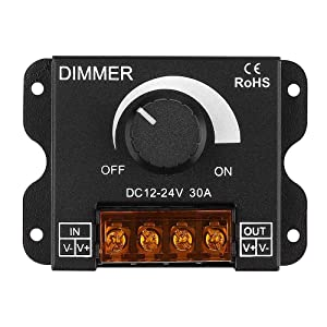 LED Light Strip Dimmer, DC 12V-24V 30A PWM Dimming Controller for Dimmer Knob Adjust Brightness ON/Off Switch with Aluminum Housing, Single Channel for 5050 3538 5630 Single Color Light Ribbon