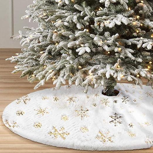 Falda de árbol de Navidad Copo Nieve Decoraciones NavideñAs Falda ...