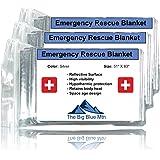 The Big Blue Mtn Emergency Blanket - Mylar Thermal Foil Survival Rescue Space Blankets (3 Pack)
