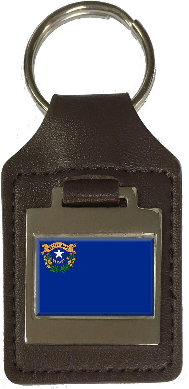 Leather Keyring Engraved Nevada Flag
