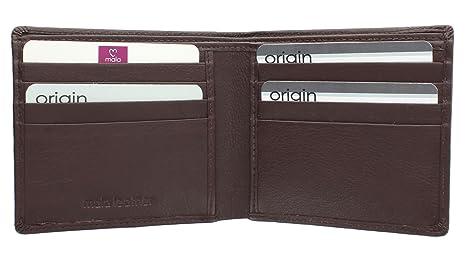 Mala Leather Colección ORIGIN Cartera Bi-Fold de Cuero con Protección RFID 110_5 Marrón