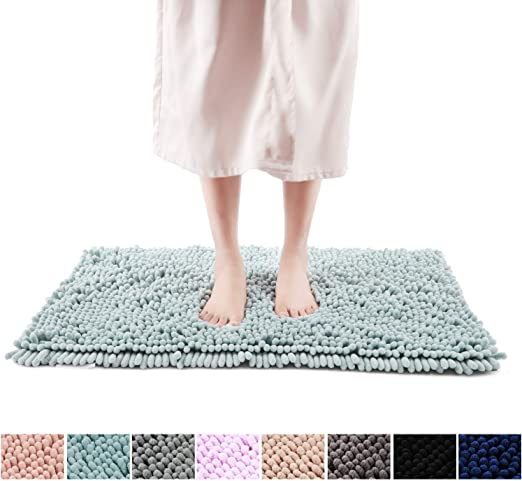 Non-S Freshmint Chenille Bath Rugs Extra Soft And Absorbent Microfiber Shag Rug