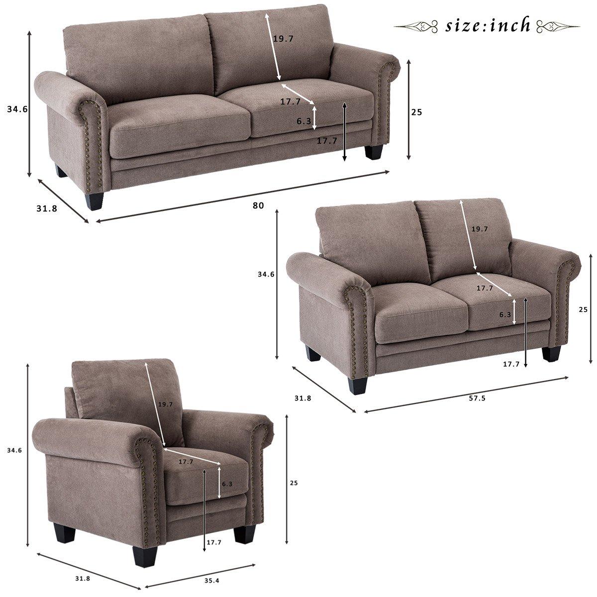 Amazon.com: Harper&Bright Designs Living Room Sofa Set Collection ...