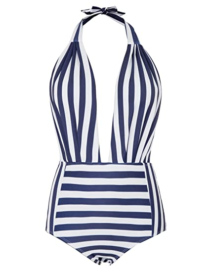 416c98435a8b3 Zexxxy Stripe One-Piece Swimsuit Beach Swimwear Bathing Suit Navy Blue XL