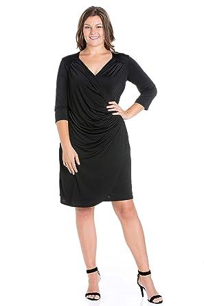 7116c959577b3 24seven Comfort Apparel Plus Size Clothing for Women 3 4 Sleeve Faux Wrap V  Neck