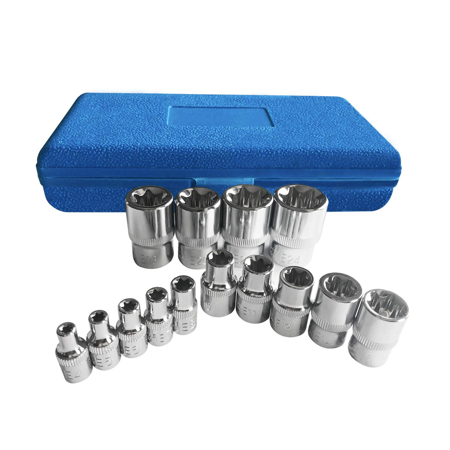 Torx Socket Set,E-Type External Torx Star Plus Socket Bit Set CR-V Steel Socket Bits 9PC 1//2 inch Drive E10-E24