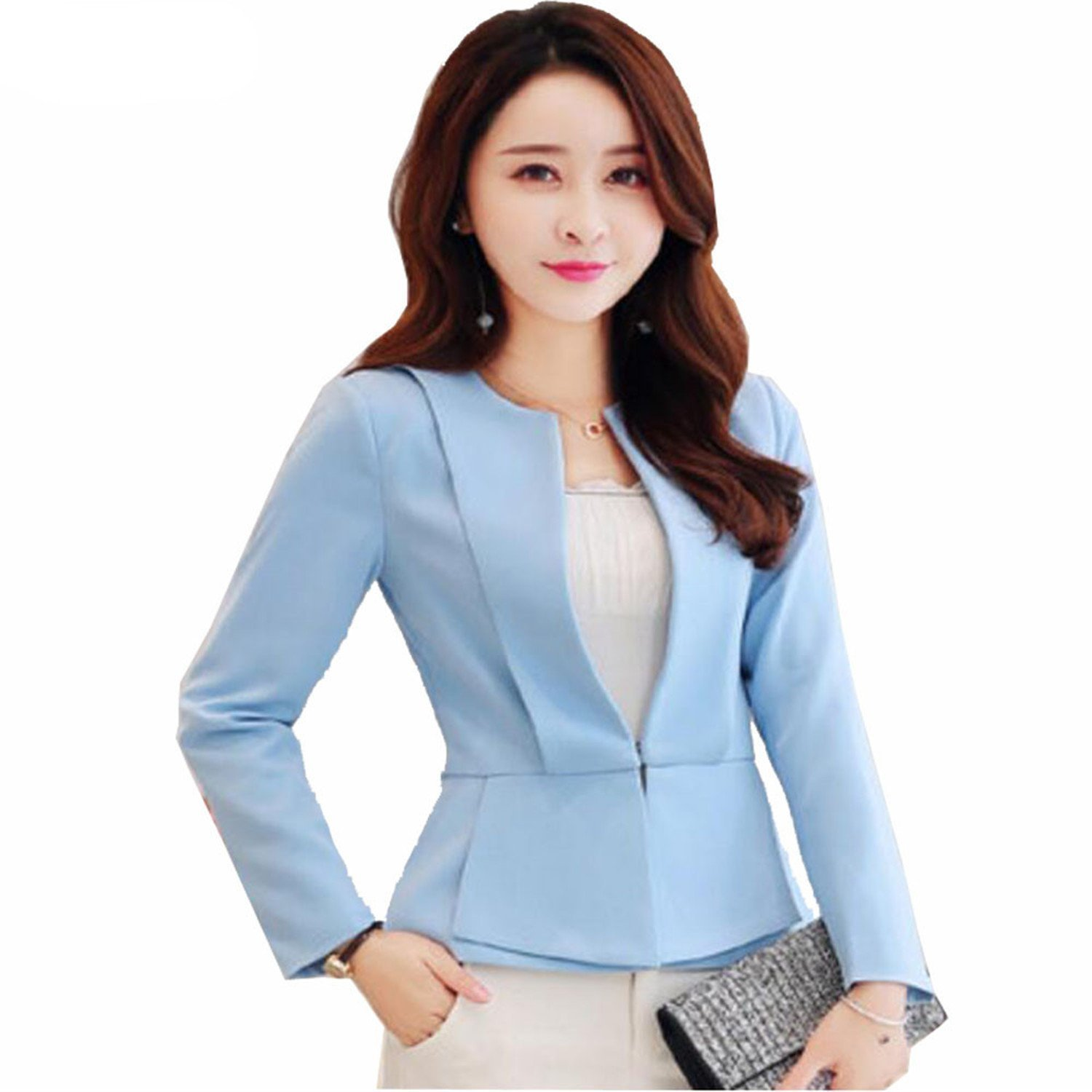 Analytical Notched Wear Female Suits Blazer Casual Slim Long Sleeve Single Button Blazers White Blue Work Formal Jackets Blazer Feminino Back To Search Resultswomen's Clothing Suits & Sets