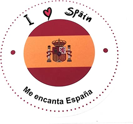 Pegatina I Spain Me encanta España Adhesiva con bandera Redonda ...