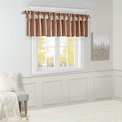 Emilia Faux Silk Brick Red Valances for Windows Elegant , Rust Window Valance with Beads , 50 W X 26 L , Spice