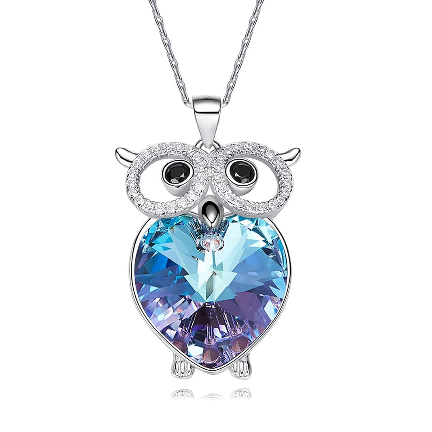 Adisaer Rhinestone Necklace Shirt Sterling Silver Plated Heart Cz Owl Heart of The Ocean Cute Owlwomens Necklace Gift