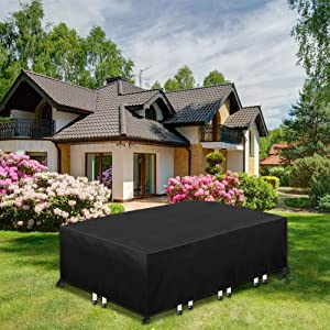 Upgraded Patio Furniture Covers, Tough Oxford Outdoor Furniture Set Covers Waterproof, Windproof / Tear-Resistant, Outdoor Furniture Cover for Rectangular/Oval Table, 4-8 Seats, 90x56x27.5 Inch
