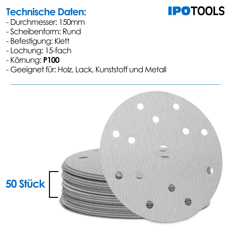 Schleifscheiben Set 150 mm  mit Klettband  Körnung P 240  50 Stück  Autolack
