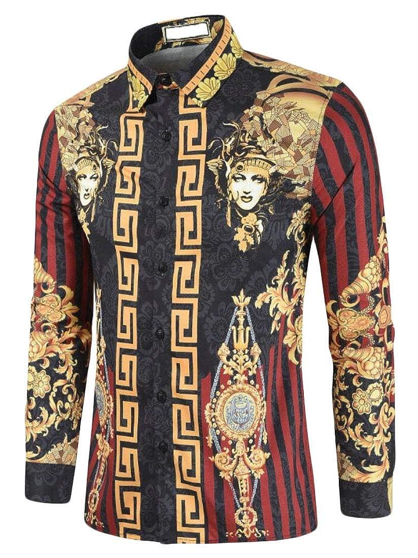 YIhujiuben Mens Stylish Long Sleeve Nightclub Slim Printing Button Down Shirts