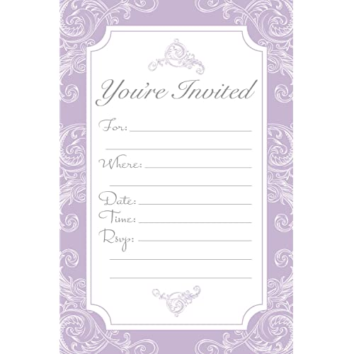 elegant lavender purple fill in invitations wedding bridal shower baby shower engagement