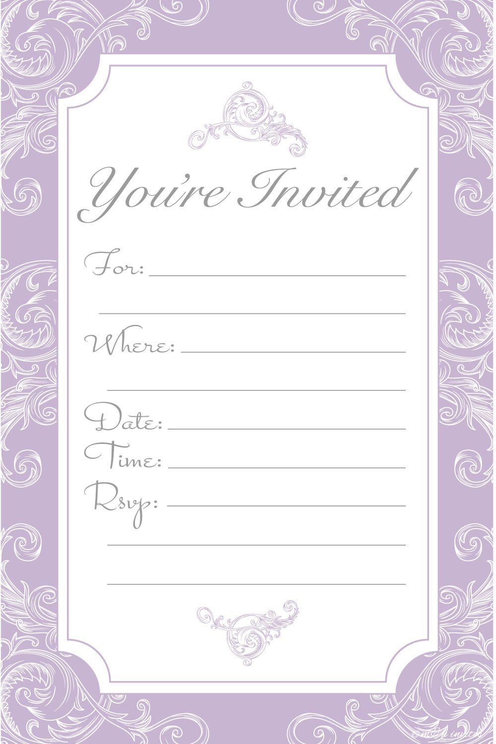 Elegant Lavender Purple Fill In Invitations - Wedding, Bridal Shower, Baby Shower, Engagement Party, Birthday - (20 Count) With Envelopes