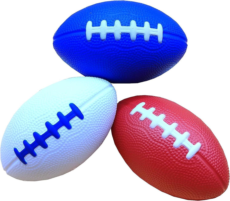 LMC Products フォームフットボールスポーツトイ - キッズボール - 3パック 4.75インチ ストレス解消 赤, 白い and 青