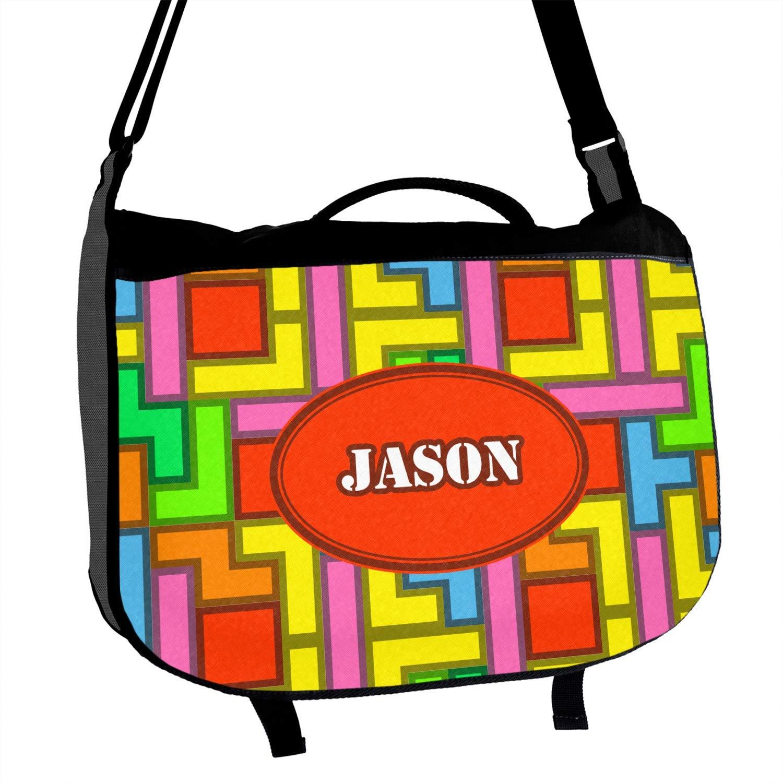 Tetris Print Messenger Bag Personalized