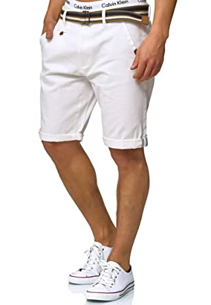 3fef3497f58e2 Indicode Herren Cuba Chino-Shorts Kurze Hose mit Gürtel aus 100% Baumwolle