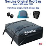 RoofBag Rooftop Cargo Carrier, Made in USA, 15 Cubic Feet. Waterproof Car Top Carriers for Cars with Racks or Without…
