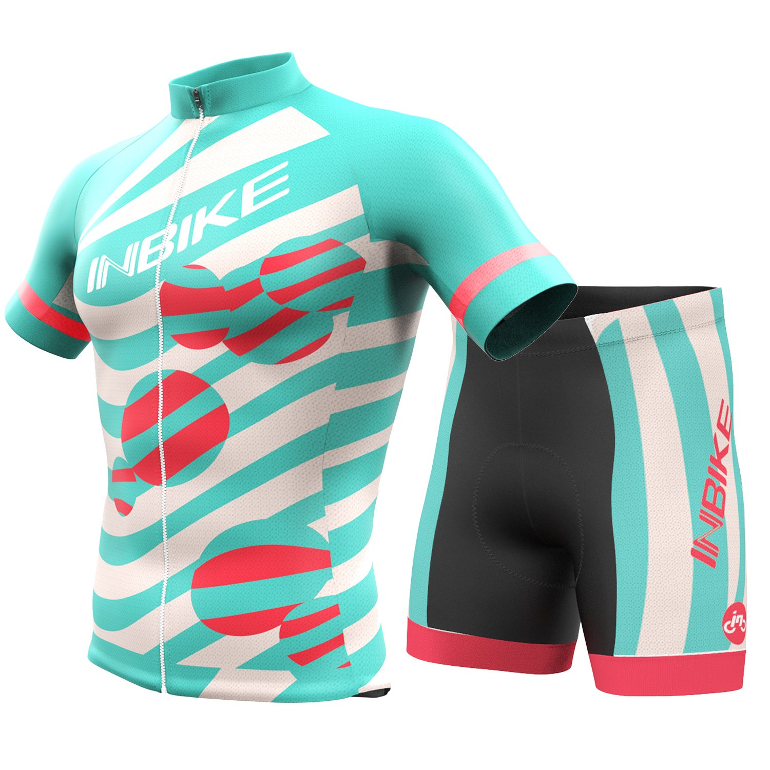 INBIKEメンズandレディース夏通気性Cycling Jersey and 3dシリコンパッド入りショーツOutfit B073317CC5 Female(US)XS-(CN)M|ミントグリーン ミントグリーン Female(US)XS-(CN)M