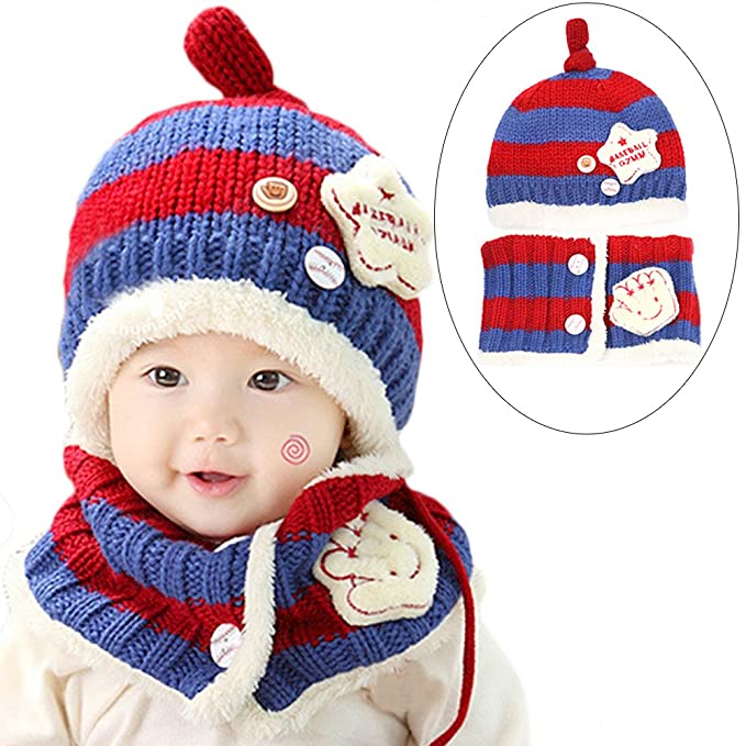 Baby Kid Boy Girl Winter Knitted Star Hat+Scarf 2Pieces Set for 6-36months 60ca4e79637c