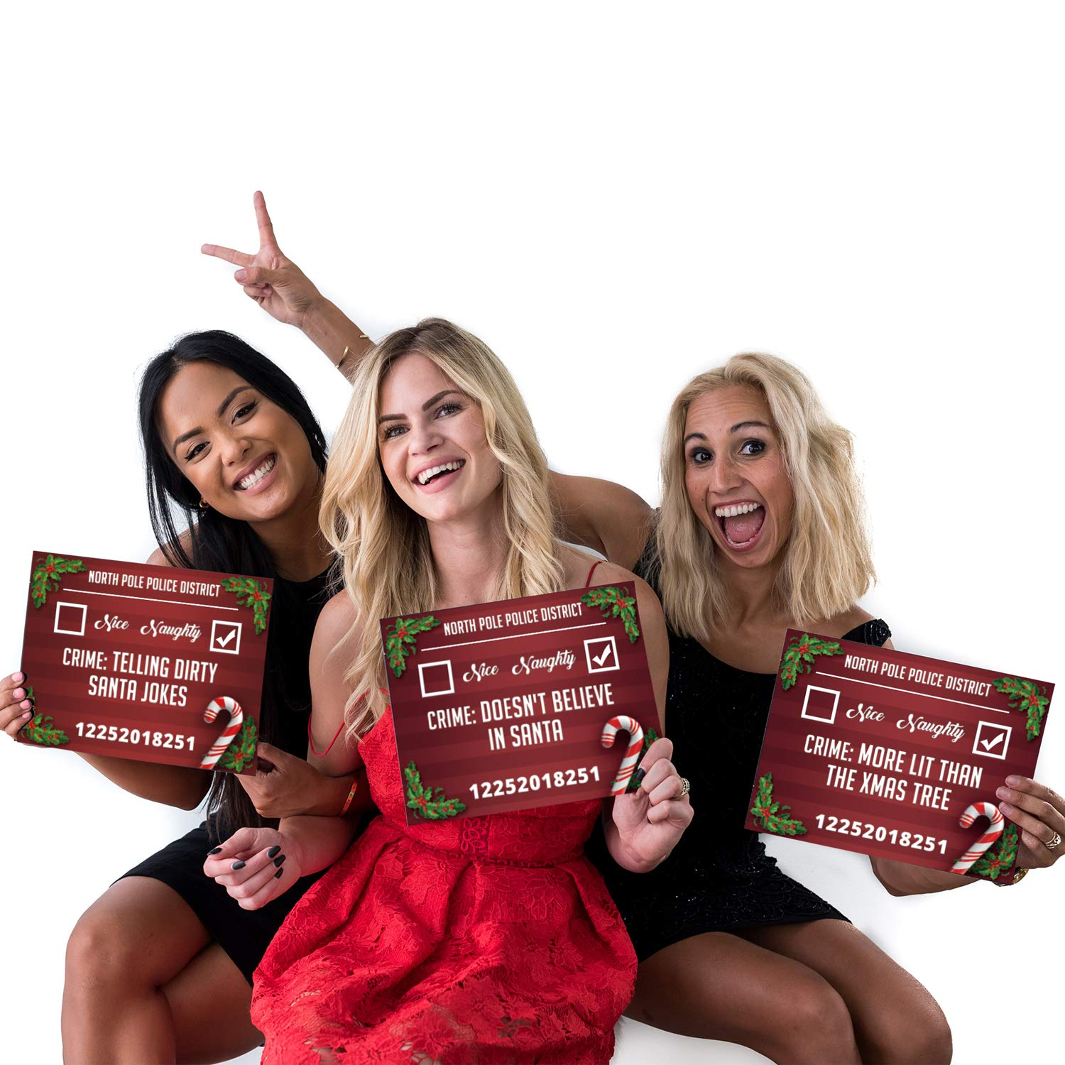 Christmas Photo Booth Prop Mugshot Signs 20 Double Sided Cards for 40 Fun Options!