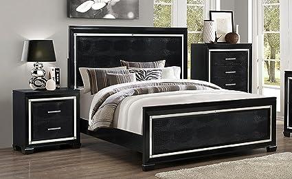 Soflex Jenny Black Crocodile Texture Bedroom Set 2Pcs Traditional Modern  (Queen)