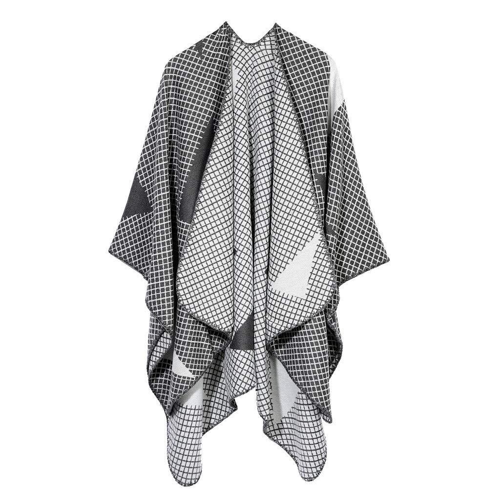 IEasⓄn Women Shawl Winter Fashion Soft Cashmere Scarves Stylish Warm Blanket Shawl Elegant Wrap Gray