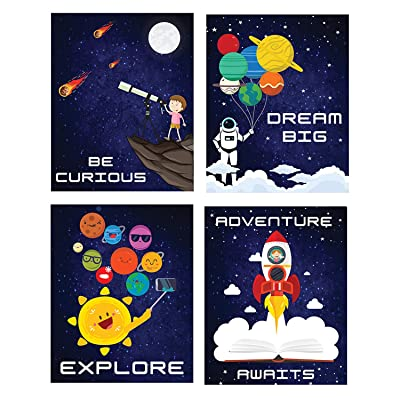 Outer Space Room Decor Wall Posters I Kids Space Tapestry Solar System Decoration I Pack of 4 - 8''X10'' Boys Bedroom Poster I Galaxy Space Themed Science Classroom Art Astronaut Inspirational Astronomy Decorating Stickers: T