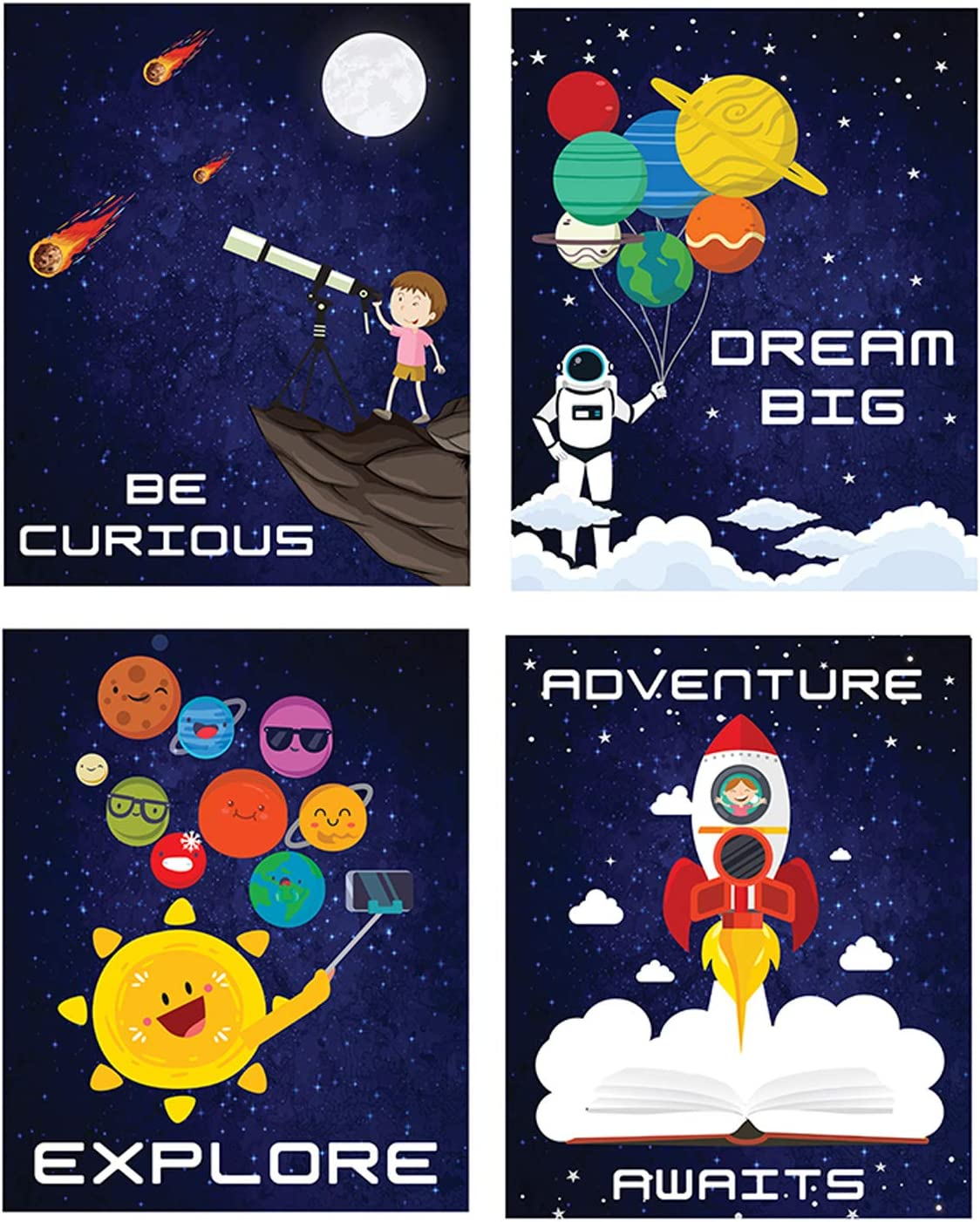Outer Space Room Decor Wall Posters I Kids Space Tapestry Solar System Decoration I Pack of 4 - 8''X10'' Boys Bedroom Poster I Galaxy Space Themed Science Classroom Art Astronaut Inspirational Astronomy Decorating Stickers