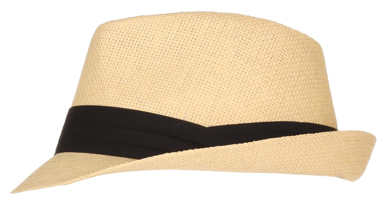 DRY77 Plain Paper Straw Fedora Hats