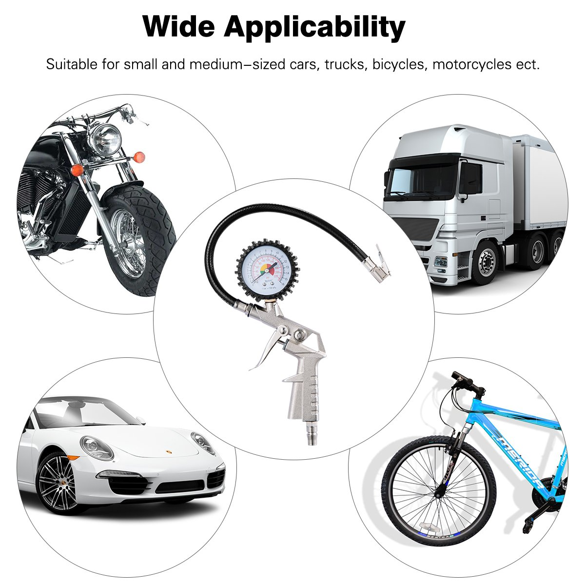 JRG Car Tyre Pressure Gauge /& 4X Tyre Presssure Monitor Valve Caps Max Test 220Psi//16Bar Tire Air Tester Tool For Tyre Car Bicycle Motorcycle
