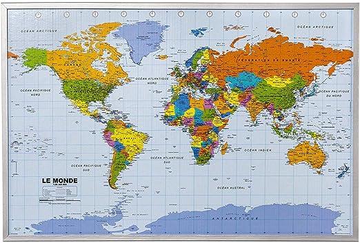 Mapa del mundo de la pared XXL - corcho - Mapa del mundo, Francés