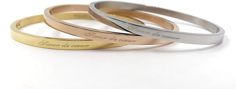 AURSTORE/® Lot de 3 pi/èces Bracelet Jonc Fin en Acier Inoxydable 316L avec Message Largeur 4 mm 20 Messages au Choix