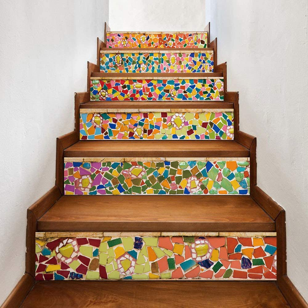 """MARATTI 6 Pcs Set Modern Art 3D Stair Stickers,Eco-Friendly Self-Adhesive PVC Stair Stickers,Removable Waterproof Staircase Decals Mural Decor for Home Decor, 39.4""""x7.1"""" (B)"""