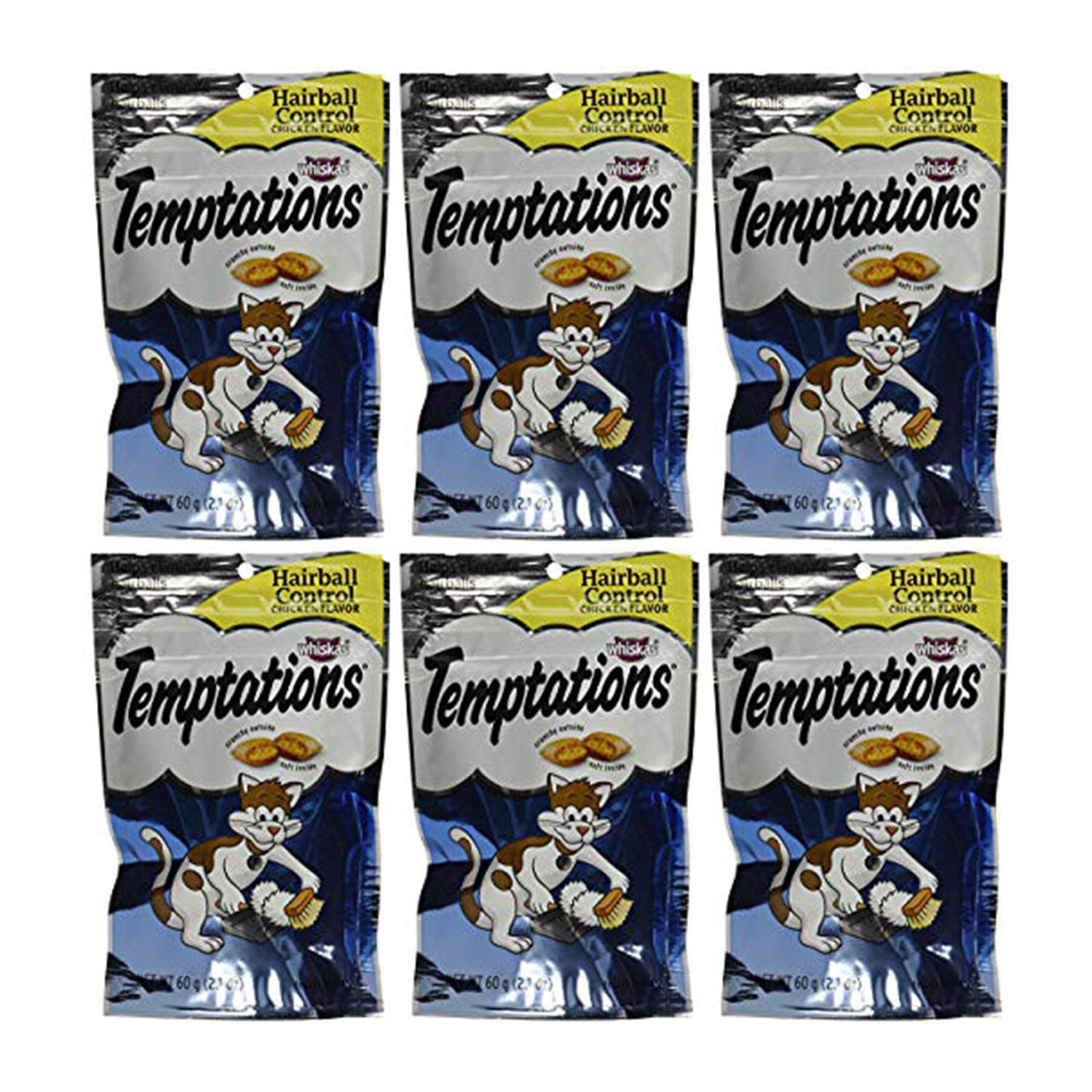 Temptations Hairball Control, Chicken (Pack of 6) by Temptations