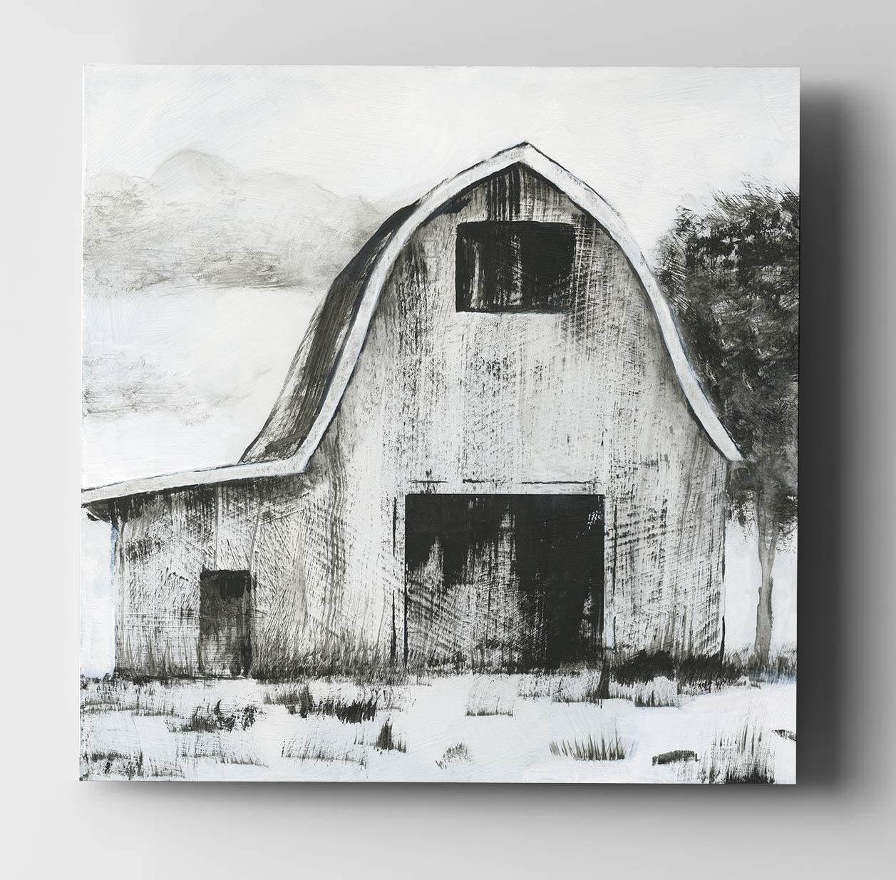 WEXFORD HOME Black & White Barn II Gallery Wrapped Canvas Wall Art, 16x16,